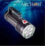 잠수 가벼운 손전등 5, 000lumens Wg66는 200meters 잠수 빛 LED 잠수 토치를 방수 처리한다