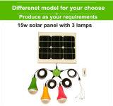 Luz recargable solar 15W de la luz solar del kit de la luz del panel solar