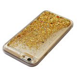 Caso-Oro móvil líquido del teléfono de los accesorios de la arena movediza TPU del brillo