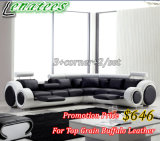 Sofá europeu popular de S749 Designe com couro genuíno $646 do búfalo somente