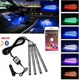 Luz de tira del coche LED, luces del interior del regulador de 4PCS 48 LED Bluetooth APP