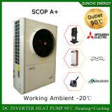Amb. -25c 100~350de chauffage au sol d'hiver m² Room 12kw/19kw/35kw Haut de la Cop split system à basse température Evi Pompe à chaleur
