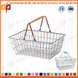 beweglicher Metallineinander greifen-Supermarkt-Einkaufskorb mit Doules Griffen (ZHb153)