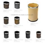 Suporte de chão de Aço de couro Lixeira Reciclar Tampa Lixeira Quarto de hotel