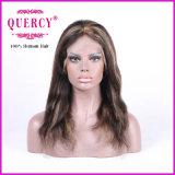 하이라이트 색깔 100% 인간 Virgin 파도치는 정면 레이스 가발, 100% 사람의 모발
