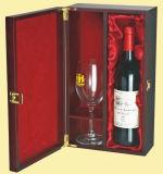 Красная деревянная коробка Шампань с кубком