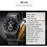Belbi Relógios de pulso, relógios de homens, homens de Aço Inoxidável romana do relógio de pulso, Cronógrafo Quartz relógios analógicos, uma melhor escolha para homens