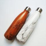 Stile di legno che ricopre la bottiglia di acqua dell'acciaio inossidabile in 500ml