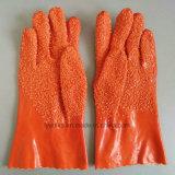Защитные перчатки из ПВХ с крупных частиц на упоре для рук