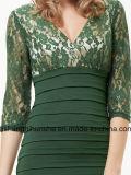 Robes sexy de chemise inférieure de lacet ruchées par lacet de V-Collet