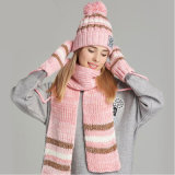 As mulheres de algodão chapéu de Inverno Cachecol Conjunto Luvas