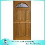 Porte en verre en bois solide d'antiquité de patine de voûte conique préfinie de jumeau