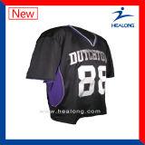 Le mélange de vitesse de vêtements de sport de modèle de mode de Healong classe des chemises du Lacrosse des hommes de sublimation