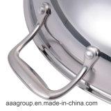 Wok dell'acciaio inossidabile di alta qualità SS304 con il rivestimento antiaderante
