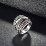 Кольцо перста ювелирных изделий античного сплава черноты типа кристаллический ретро