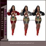 Mesdames Femmes à manchon long Stripe robe de cocktail Bodycon (TG18113)