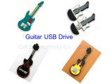 Unidade Flash USB de formato de guitarra pen drive USB de PVC para a promoção