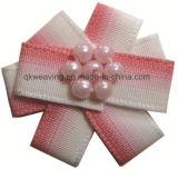 Curva Handmade da fita da flor da fita para a decoração com pérolas
