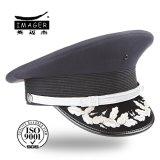 Kundenspezifischer Marine-Kapitän Schutzkappe mit silberner Stickerei