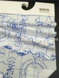 Fertiger Gewebe-Baumwollpopelin-weißer Boden gedruckte blaue Karte 100%