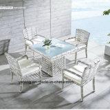 Durável exterior à prova de grande mesa de jantar com grande cadeira de tecidos de vime sintético (YT663)