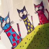 Karton-Katze-Kinder mochten PEVA wasserdichten Duschvorhang für Badezimmer