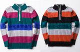 1/4枚のジッパーのタートル・ネックは100%年の綿の男の子のセーターを縞で飾った