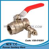 Valvola a sfera d'ottone con il rubinetto di spurgo (V20-016201)