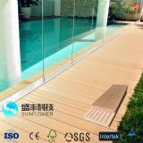 Étage solide de Bois-Plastique imperméable à l'eau extérieur et creux composé de Decking