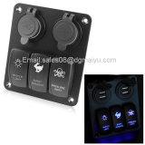 3 módulos impermeables coche Panel de interruptores de balancín de LED con 2 USB Cigaretter Plug para marinos/barco/RV 12 V