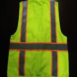Veste da segurança com tela reflexiva do Twill da faixa 100%Polyester do cuidado com 4 bolsos