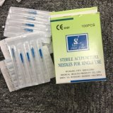 Un solo uso Steriles aguja de acupuntura con mango de acero inoxidable