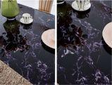2016の現代イタリアの黒いガラス光沢6の人のステンレス鋼のダイニングテーブル
