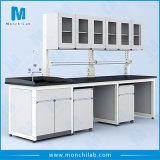 Medizinisches chemisches Laborhölzerner Prüftisch mit den Metallbeinen