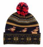 カスタム黒い編まれたアクリルの冬の帽子の帽子
