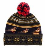 Malha preta personalizada Inverno Acrílico Beanie Hat