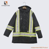 Reflectante Hi-Vis algodón grueso grueso acolchado Ropa de trabajo caliente chaqueta uniforme de policía de tráfico Trabajo nocturno