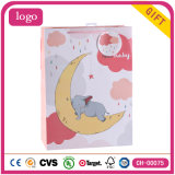 Bolsas de papel revestidas del regalo del arte de los elefantes de los niños de luna