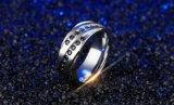 De hete Juwelen Anel Anillos Bague van de Manier van de anti-Allergie van de Ringen Ziconia van de Ring van het Staal van het Titanium van de Verkoop Dubbele Kubieke