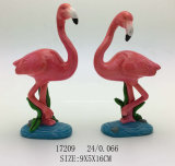 Polyresin Flamingo mit Schnee-Kugel