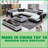 Sofá de madeira de couro moderno ajustado da mobília da forma de Divany U