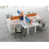 Formato de linha reta de 6 Lugares Mesa de escritório modular com armários
