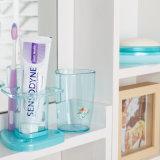 La salle de bains de 6222 triangles 3 parties a placé, assiette de savon et support en plastique de Mug&Toothbrush de dent