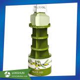 Custom expositor de cartón con forma redonda de aceite de oliva