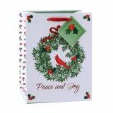 Sac de papier de cercle de sac de souhait floral rouge de Noël, sac de papier de cadeau