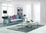 現代イタリアファブリック居間の家具のホテルのレセプションのステンレス鋼の足のソファー3のシート