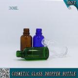 bouteille en verre ronde de Boston tube bleu vert ambre/clair de 30ml avec le compte-gouttes pour le liquide d'huile essentielle