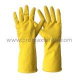 gant jaune de latex de ménage rayé par bande du coton 55g