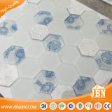 Kitchen and Bathroom Wall White and Blue Color Hexagon Knell and Marble Mosaic (M855358)