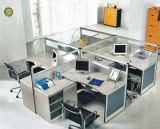 Poste de travail moderne de bureau de 4 portées avec le bureau d'ordinateur de partition de panneau et en verre (OD-24)